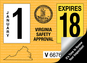 VA State Inspection Sticker
